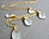 Moonstone Necklace in 14K Gold Fill, Handmade Moonstone Gemstone Necklace, White Gemstone, Neutral Colors