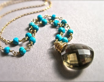 Smoky Quartz and Turquoise Gemstone Necklace in 14K Gold Fill, Wire Wrapped Gold Gemstone Jewelry