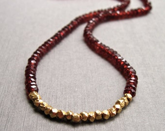 Garnet Necklace with 18K Gold Vermeil Nuggets, Red Gemstone Necklace, January Birthstone Necklace