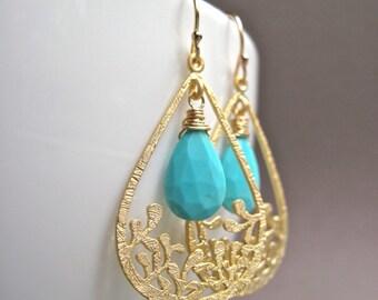 Turquoise Dangle Earrings, Turquoise Jewelry, Blue Stone Gold Hoop Earrings