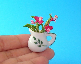 Pink Orchid Flowers in a Jar for Dollhouse 12th Scale