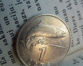 1992 year SALMON Coin for Luck - Jewelry Making - Scrapbooking - Original Presents - Supplies - Collection