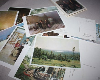 RARE - 16 Vintage Postcards from the Past - from The State Tretyakov Gallery.  Moscow. Russia. 1974