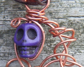 Day of the Dead Wire Wrapped Caged Carved Skull Magnesite Necklace. Purple Carved Skull Magnesite Pendant. ON SALE WAS 12.00