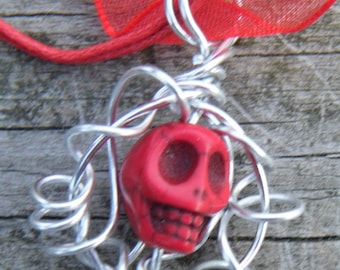 Day of the Dead Wire Wrapped Caged Carved Skull Magnesite Necklace. Red Carved Skull Magnesite Pendant. ON SALE WAS 12.00
