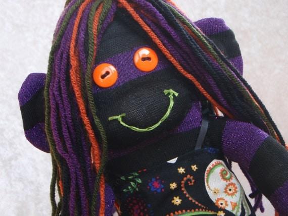Halloween Purple and Black Striped Sock Monkey Girl