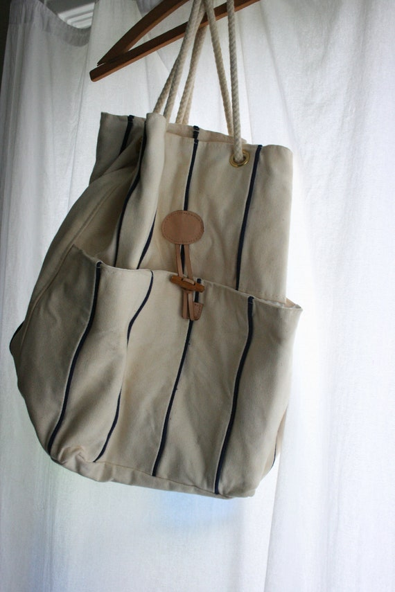 Heavy Canvas Bag Backpack Cream and Navy