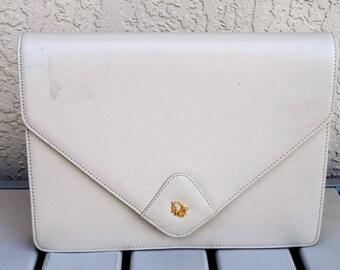 Authentic CHRISTIAN DIOR Tan Genuine Leather Purse Bag Handbag.