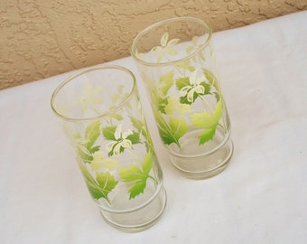 Vintage Thin Tall  Beverage Tumblers Glasses.