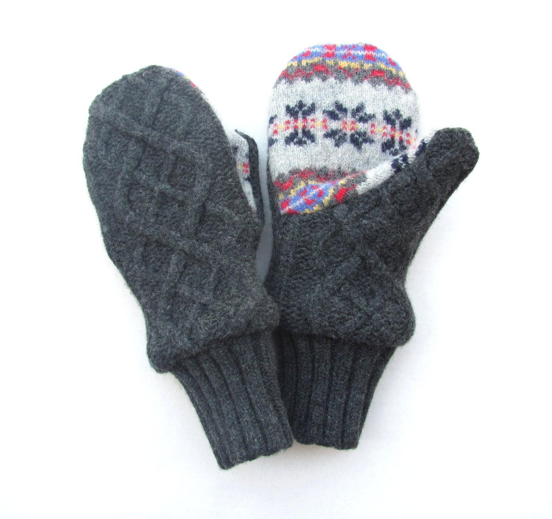 Felted Wool Mittens Fleece Lined Gray Charcoal by jmariecreates