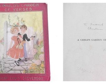 Antique Child's Book Robert Louis Stevenson A Child's Garden of Verses Original Edition