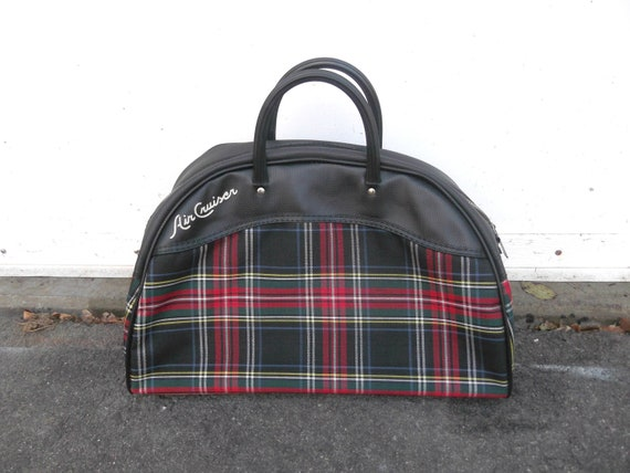 1960s Plaid Overnight Travel Bag Air Cruiser Leed S