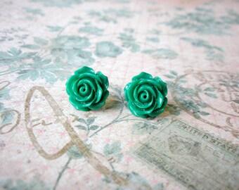 Dark Green Rose Flower Earrings, Dark Green Flower Earrings, Dark Green Resin Cabochons, Flower Earrings, Rose Earrings, 15mm