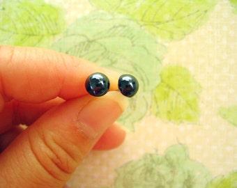 Bright Black Rhinestone Beads Earrings, Black Earrings, Black Rhinestone Post - 3 Pairs