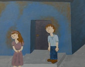 Somber boy and girl acrylic painting, blue