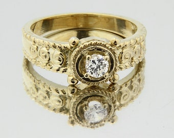 Stunning 4mm  White Sapphire Solid  14k white gold Vintage Ring