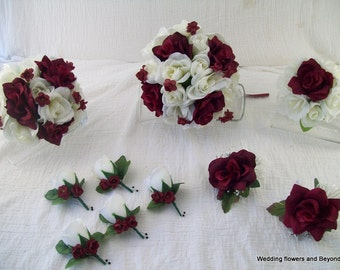 Brides on a Budget  Silk Flower Wedding Bouquets Burgandy and Ivory Roses Custom Made To Order 10 Piece Package Lots of Colors Available