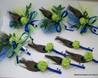 Apple Green and Royal Blue Wedding Flowers Silk Flowers and Peacock Feather Boutonnieres and Corsages 9-Pieces  Made To Order
