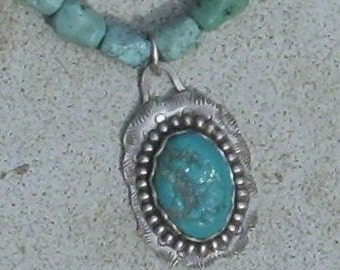 Sterling Silver and Turquoise Pendant on Turquoise Necklace
