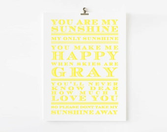 You Are My Sunshine wall art, You are my sunshine print, Kids Wall art, Kids room decor, Children wall art, AP007