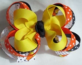 Candy Corn Halloween Hair Bow - Stacked - Yellow, Orange, Black - Medium - Infant to Toddler