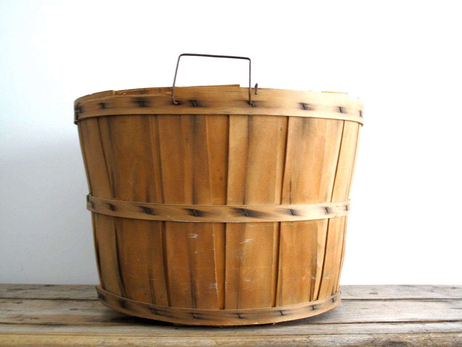 Vintage Apple Basket Wood Basket Fruit Bushel By