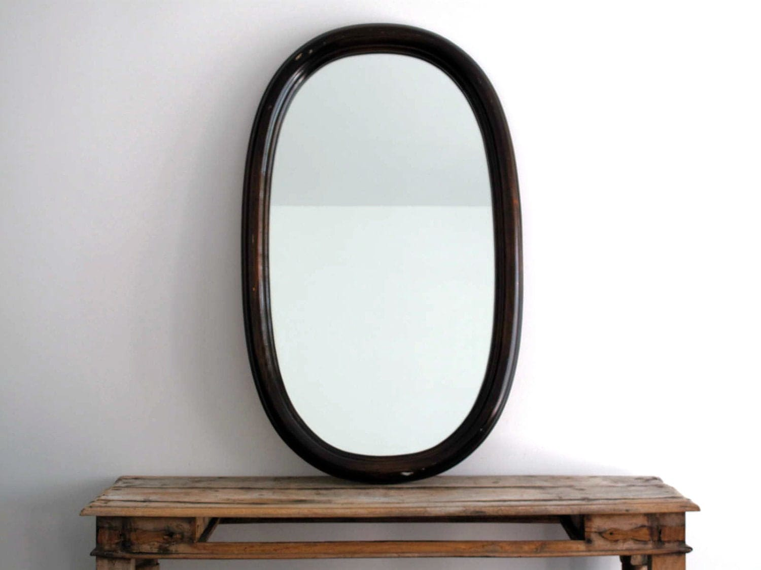 Antique wall mirror large wood frame hanging by for Large wall mirror wood frame
