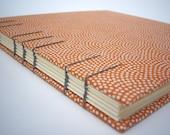 Orange Dot Sketch Book / Guest Book, Hand Bound Book, Coptic Stitch, Made to Order