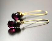 Purple Earrings, Eggplant,  Plum, Violet, Dark Purple, Gold Earrings by Simply Sleek
