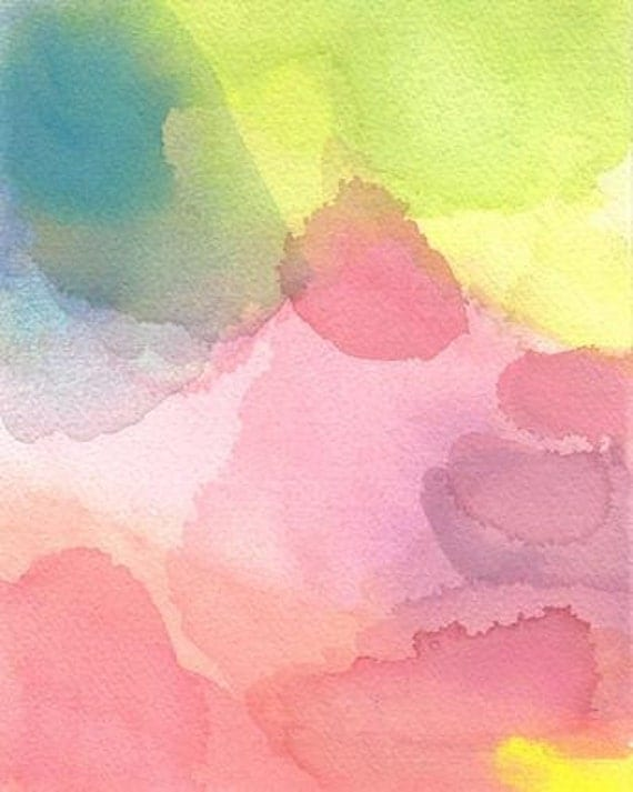 Air, Original Watercolor Painting, Abstract Art pastel pink purple lime yellow