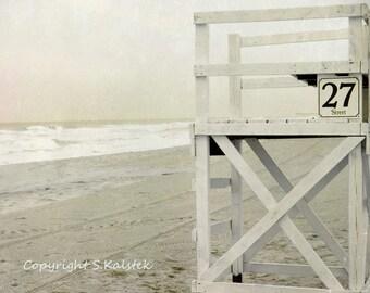 Virginia Beach Photograph Life Guard Chair Ocean Shore Cream Brown Ivory White Dreamy Seaside wall art 8x8