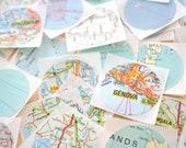 Vintage Map Sticker Seals - Set of 10