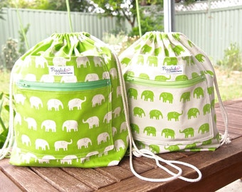 Choose Your Color: Large Child's Backpack with Double Pocket - Elephants