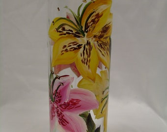 Tiger Lily Hand Painted Vase-yellow and pink