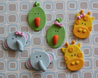 Fondant Zoo Animal Giraffe, Elephant and Bird Toppers for Cupcakes, Cookies or other Treats