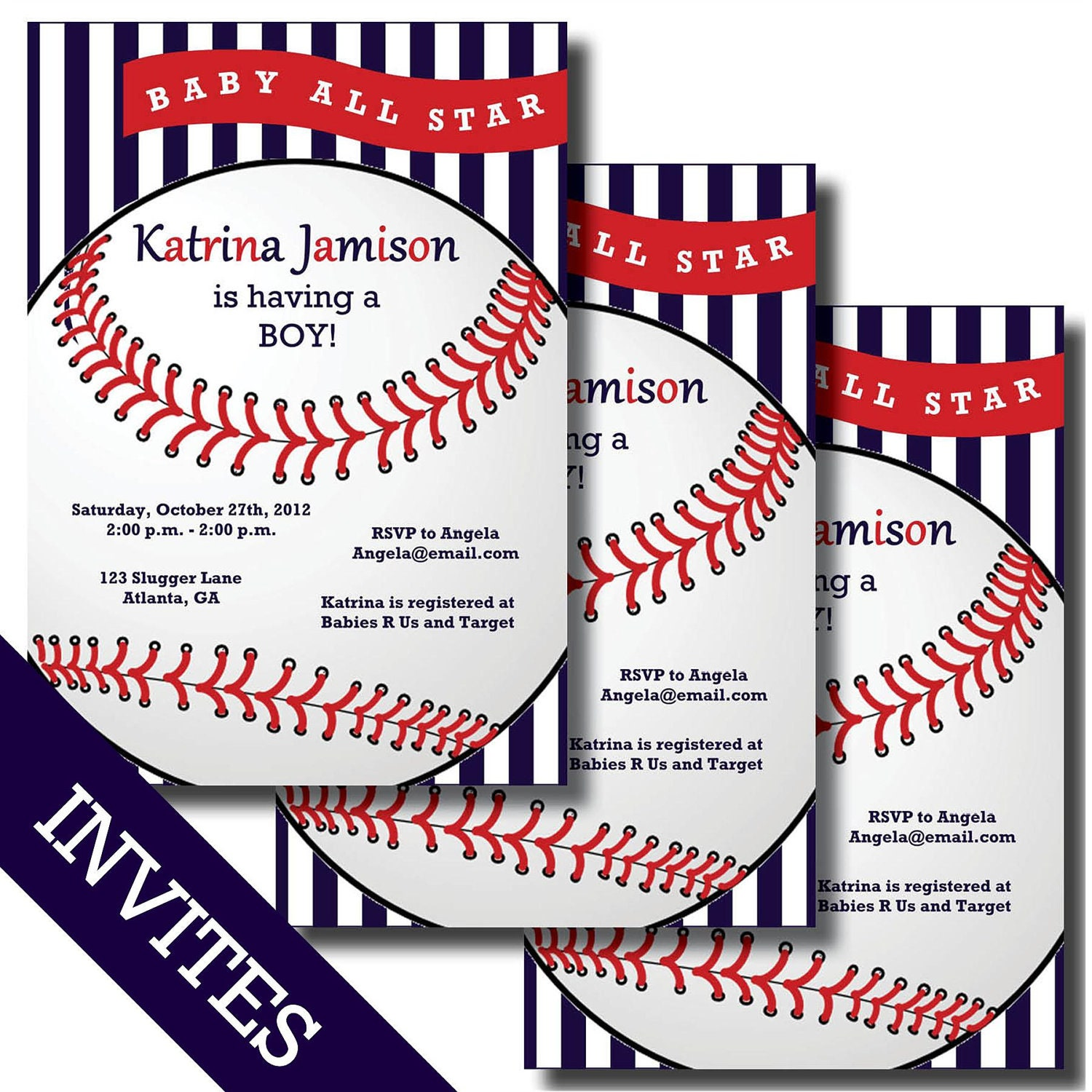 baseball baby shower invitations and by lesliemariedesigns on etsy, Baby shower invitations