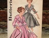 Vintage 50s / Mid Century / Full Skirt / Plunging Neckline /Cocktail Dress / Dress Pattern / Size 16 / Bust 36
