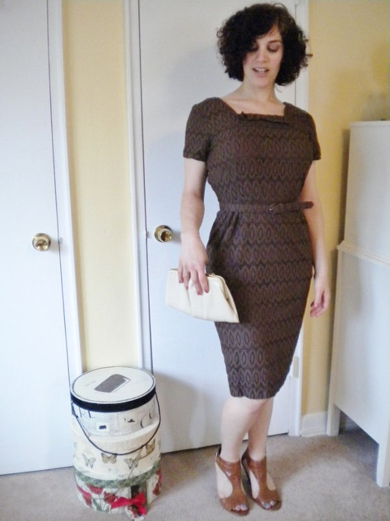 Chocolate Brown Wiggle dress With amazing fabric detail