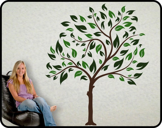 Large Tree Vinyl Wall Decal Mural with 2 color leaves - Choose Spring or Fall color scheme