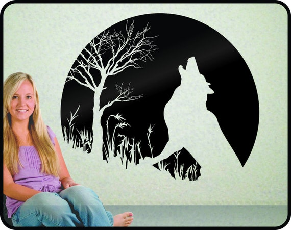 Howling Wolf and Moon Wall Decal - striking and elegant vinyl decor  -Twilight -