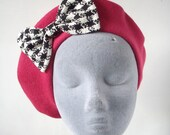 Pink Hat- Pink Beret Hat with Black-White Dogtooth Bow