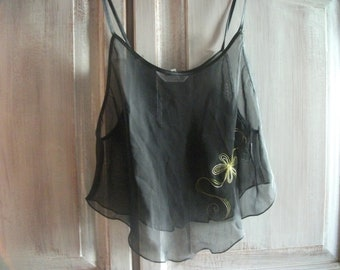 BLACK CHIFFON SLEEPWEAR, shorts, embroidered top, size m-l, sold as set
