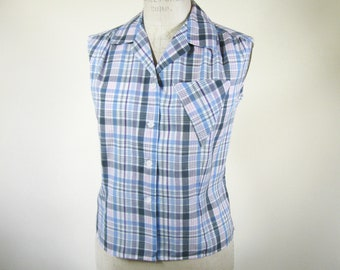 1960s Madras Plaid Sleeveless Blouse Womens Size Large