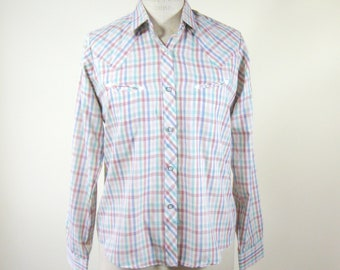 1980s Plaid Western Shirt Womens Size Medium Smile Pockets