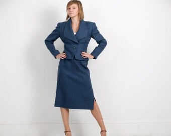 Vintage Albert Nipon Wool Suit in Blueberry Houndstooth