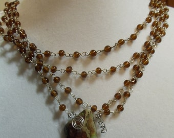 """82"""" Rootbeer Beaded Necklace with Green and Brown Slab, Beaded, necklace, rootbeer, green"""