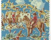 FQ blue Cowboy Ranch Happy Trails Fabric Benartex