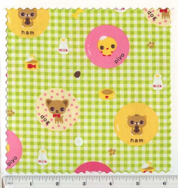 FQ Happy Chihuahuas Green gingham Lightweight Canvas Fabric LECIEN