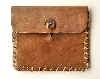 Vintage Leather Pouch with Leather Stitch Trim