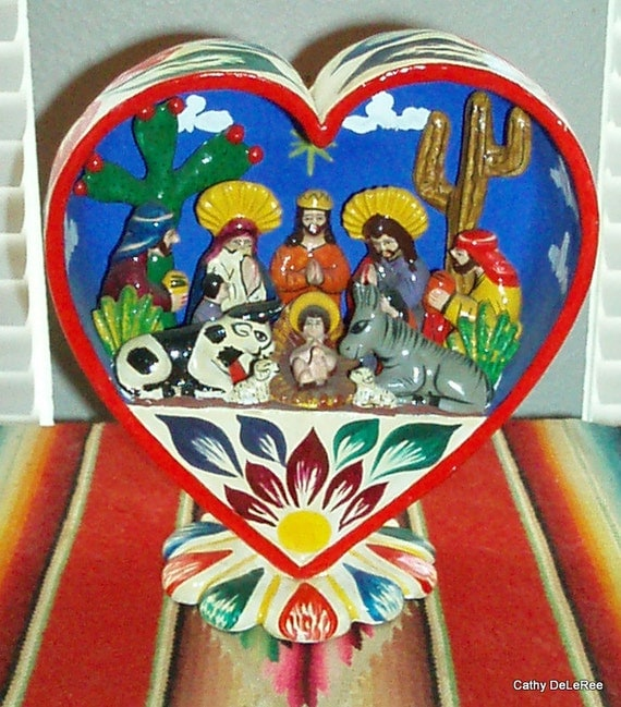 Vintage Peruvian Retablo - Folk Art Nativity - Heart Shaped Box - Diorama